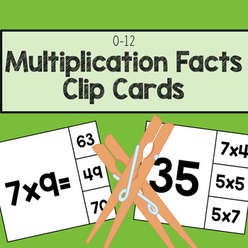 Multiplication Facts 0-12 Clip Cards