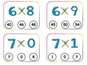 Multiplication Facts Clothespin Task Cards