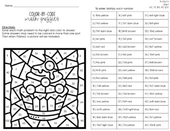 Multiplication Facts Color By Number (Color By Code)