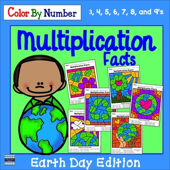 Multiplication Facts Color By Number:  Earth Day Edition