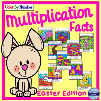 Multiplication Facts Color By Number: Easter Spring Edition