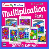Spring Math: Multiplication Color By Number: Independent Learning Packet