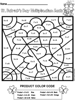 Multiplication Facts Color By Number: St. Patrick's Edition