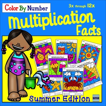 Multiplication Facts Color By Number: Summer Edition