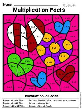 Multiplication Facts Color By Number: Valentine's Edition