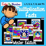 Multiplication Facts Color By Number: Winter Edition