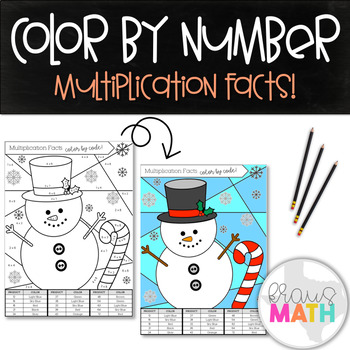 Multiplication Facts Color by Number Activity: Winter Wonderland! (Grade 3)