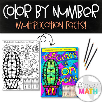 "Multiplication Facts Color by Code: ""Our Class is ON POINT!"" Cactus!"