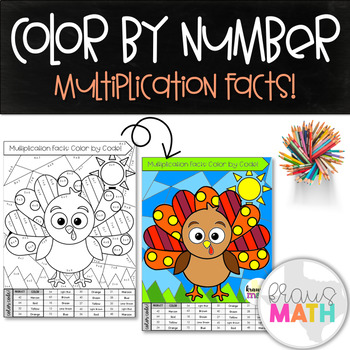 Multiplication Facts Color by Number: Thanksgiving Turkey!