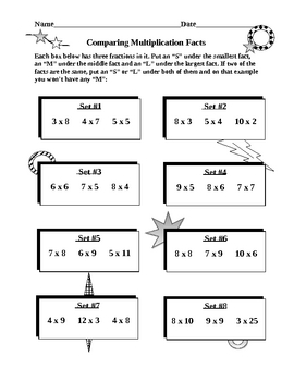 Multiplication Facts Comparison