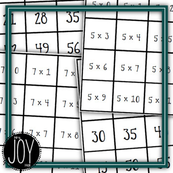 Multiplication Facts Concentration - 13 Different Games Separated by Number Sets