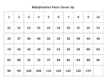 Multiplication Facts Cover Up Math Game