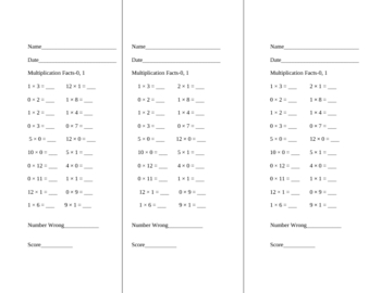 Multiplication Facts Drills- 0-12