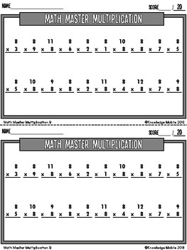 Multiplication Facts - Eight Printable Game