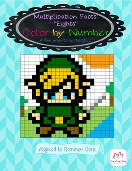 """Multiplication Facts: """"Eights"""" Color by number"""