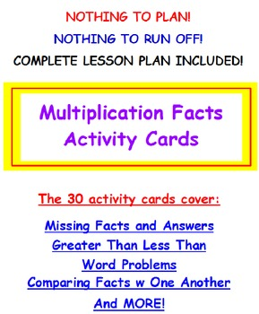 Multiplication Facts FREE Activity Cards PREVIEW