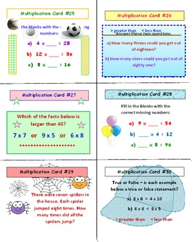 Multiplication Facts FREE SCOOT Game PREVIEW