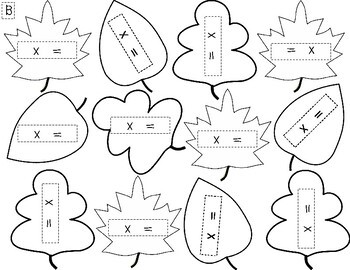Multiplication Facts Fall Wreath Activity