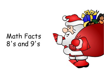 Multiplication Facts File folder Game 8's and 9's: Christmas Themed!