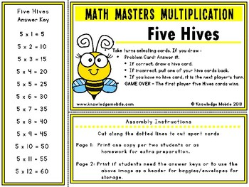 Multiplication Facts - Five Printable Game