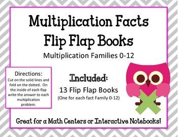 Multiplication Facts Flip Flap Books.Math Interactive Notebooks.Math Center 0-12