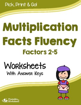 Multiplication Facts Fluency - Multiplying by 2, 3, 4 or 5 - Worksheets