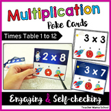 Multiplication to 12 - Task Cards Poke Cards | Math Center Activity