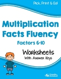 Mixed Multiplication Facts Worksheets - Multiplying by 6, 7, 8, 9, or 10