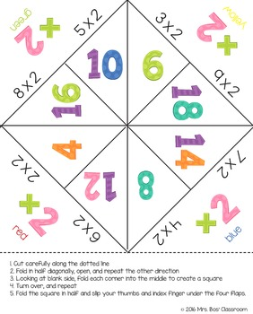 Multiplication Facts Fortune Tellers (Cootie Catchers) 2-12