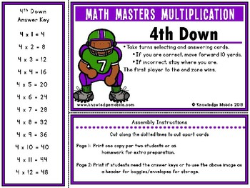 Multiplication Facts - Four Printable Game