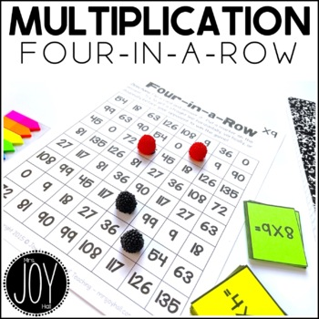 Multiplication Facts Four in a Row Game for Math Centers o