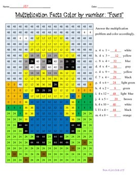 """Multiplication Facts: """"Fours"""" Color by Number"""