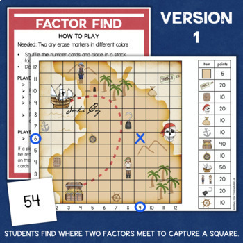 Multiplication Facts Factors Game