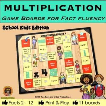 Multiplication Game Boards for Multiplication Tables 2 to 12 KIDS Edition