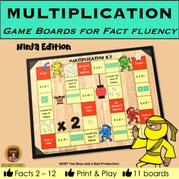 Multiplication Game Boards for Multiplication Tables 2 to 12 NINJA Edition