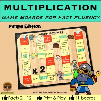 Multiplication Game Boards for Multiplication Tables 2 to 12 PIRATE Edition