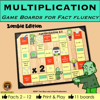 Multiplication Game Boards for Multiplication Tables 2 to 12 ZOMBIE Edition