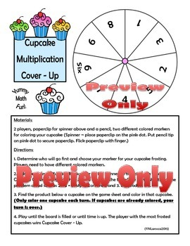 Multiplication Facts Game Division Facts Game Cupcake Cover-Up Bundle