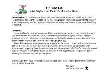 """Multiplication Facts Game """"Tic-Tac-Go!"""" Partner Activity"""