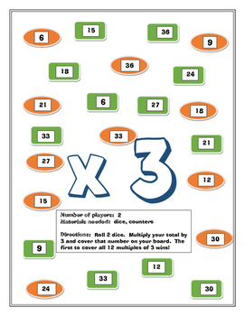 Multiplication Facts Gameboards for Partners -- Fact Fluency