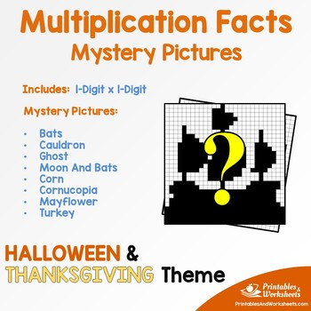 Halloween, Thanksgiving Multiplication Activities Math Coloring Pages