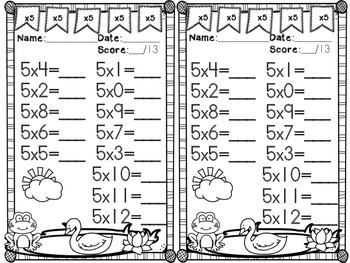 Spring Multiplication Facts #1-12