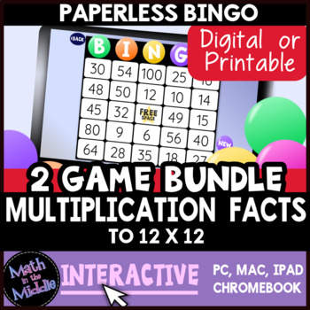 Multiplication Facts Interactive Bingo Review Game