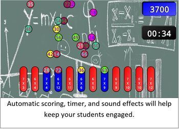 Multiplication Facts SMART Board / Interactive Whiteboard Game