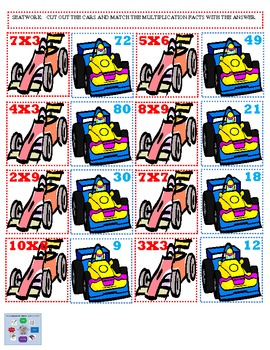Multiplication Facts Learning Center Race Car Times