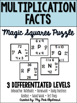 Multiplication Facts Magic Squares Puzzle - Perfect for Centers and Test Prep!