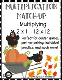 Multiplication Facts Matching Game 2-12 Fall Pumpkin Theme