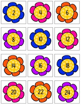 Multiplication Facts Matching Game 2-12 Spring Flower Theme