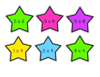Multiplication Facts Matching Game- Stars Theme