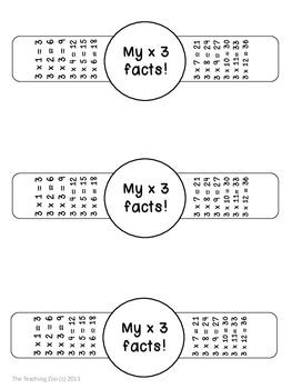 Multiplication Facts Math Fun Learning Bracelets